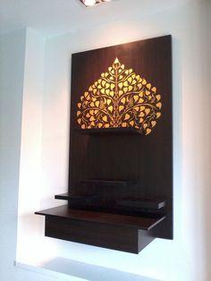 Good idea for temple corner Temple Room, Home Temple, Mandir Design, Prayer Corner, Pooja Room Door Design, Temple Design, Puja Room, Room Decor, Wall Decor