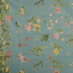 """Fabric Sample, Mary's Fancy Glazed Chintz, Blue A sample of a Brunschwig & Fils Inc. fabric design, no. This is a screen print design. The pattern is """"Mary's Fancy"""" and the fabric is dated MCMLXXXVII The fabric is glazed cotton chintz. Fabric Design, Print Design, Fabric Samples, Screen Printing, Swatch, Mary, Interior Design, Bedroom, Pattern"""