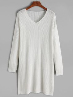 Shop White V Neck Drop Shoulder Sweater Dress online. SheIn offers White V Neck Drop Shoulder Sweater Dress & more to fit your fashionable needs.