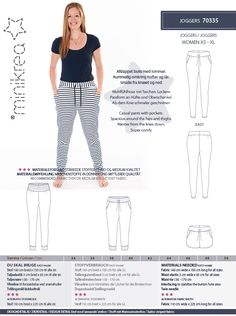 Size:34 -50 (EU standard sizes)  Description: Casual trousers with pockets. Spacious around the hips and thighs. Narrow from the knee Down. Super comfy.  Product: Paper pattern - This is a printed paper sewing pattern. The pattern contains afull size pattern,a detailed instruction booklet and translations.  Languages: Includes Danish, German, English.