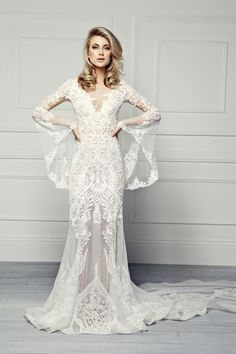 Pallas-Couture-Therron-spring-2017-embroidered-lace-sheath-wedding-gown-with-long-bell-sleeves-dimitras-bridal-couture-chicago.