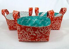 Fabric Basket Tutorial.  Seriously easy!  Why didn't I think of this!  LOL