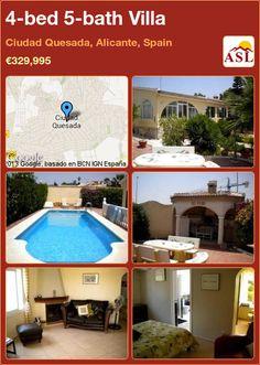 4-bed 5-bath Villa in Ciudad Quesada, Alicante, Spain ►€329,995 #PropertyForSaleInSpain