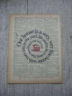 Our House Song Lyric Print    Crosby Stills by TexasGirlDesigns, $12.00