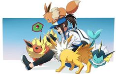 ♥ Girl... Eevee... Pokeball... Female Protagonist... Pokémon... Pokémon GO!... Anime ♥