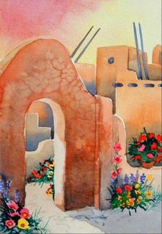 Flora Casa - Southwest Art Print - Santa Fe Architecture - Pueblo and flowers in… Southwestern Paintings, Mexican Paintings, Southwestern Art, Southwest Decor, Mexico Art, Desert Art, Arte Popular, Watercolor Paintings, Watercolors