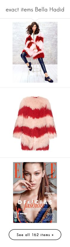 """exact items Bella Hadid"" by marilia13 ❤ liked on Polyvore featuring outerwear, coats, pink multi, pink oversized coat, pink coat, red coats, fuzzy coat, shearling coat, dresses and white dress"