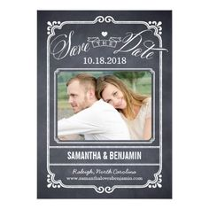 Chalkboard Wedding Save the Date Chalked Frame Save The Date Card