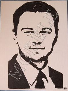 A vendre/ For sale: Leonardo DiCaprio -Portrait-Stencil-Acrylique-Toile (canvas) : Peintures par scrapoupoune