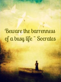 Méfiez-vous de la stérilité d'une vie bien remplie- Socrate (YEP! NO ONE IS GOING TO SAY ON THEIR DEATH BED I WISH I HAD WORKED MORE!)