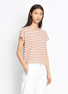 Striped Boxy Crew Neck Tee for Women   Vince
