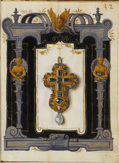 """""""The Jewel Book"""" by Hans Mielich - The paper and parchment manuscript displays more than one hundred gouache sketches of seventy pieces of jewellery, the vast majority belonging to Duchess Anna and the remainder to the Duke. Mielich spent at least two years preparing the sketches and the work was completed in 1555."""