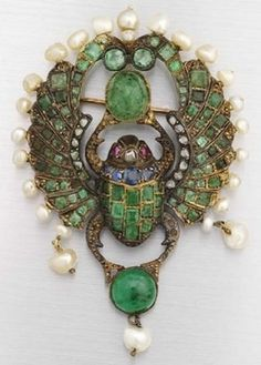 Egyptian Revival, Gold Scarab, Inlaid, Sapphire/Emerald/Ruby/Diamond, Pearl Frame