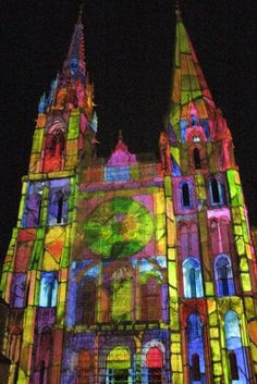 Chartres Cathedral at night during the summer.