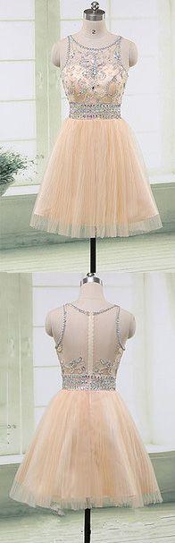 Homecoming Dress,Homecoming Dresses,Short Prom Gown,Champagne Homecoming Gowns,2017 Homecoming Dress