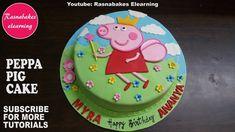 peppa pig birthday fondant cake design ideas for kids decorating tutorial video Cricket Birthday Cake, Easy Kids Birthday Cakes, Simple Birthday Cake Designs, Easy Cakes For Kids, Birthday Cake Video, Cake Designs For Kids, Twin Birthday Cakes, Peppa Pig Birthday Cake, Simple Cake Designs
