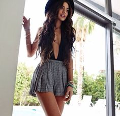 Dress: cute overall, overalls, black and white, black hat, perfect ...