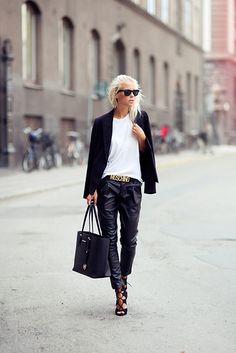 white t, leather pants, black blazer. she's awesome - Victoria Törnegren @ http://imnext.se/victoriatornegren/