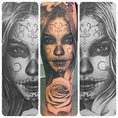 Day of the dead girl. Rose to finish. #tattoo #tattoosleeve #dayofthedead #dotd #rose #rosetattoo #blackandgrey #blackandgreytattoo #blackandgray #cooltattoospost #superbtattoos #bnginksociety #bloodhoundirons #ink #illadelphia #illadelphiairons #scotthepworth #chicano
