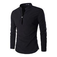 Mens Casual Shirts, Mandarin Collar Slim Fit Shirts