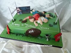 Rugby pitch and scrum - another very popular cake design