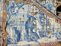 Tiles on Marquis of Pombal Palace. Palace located in the centre of Oeiras, Portugal.