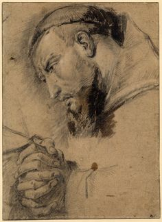 St Francis in prayer; head of a saint with small beard, monk's tonsure and cowl, seen almost in profile to l, his gaze fixed and hands clasped before him Black chalk, with some brown wash, heightened with white, on buff paper