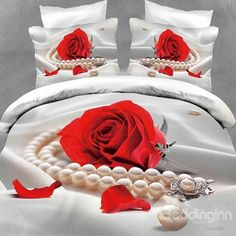 New Arrival High Quality Pearls around Rose Realistic 3D Printed 4 Piece Bedding Sets