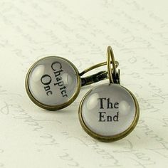 Book Earrings - Chapter One and The End - Literary Jewelry - Writer Gift - Bibliophile by JezebelCharms on Etsy https://www.etsy.com/listing/150903556/book-earrings-chapter-one-and-the-end
