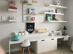 shared kid desk area, kid homework station, double desk in playroom design or bonus room study area kids desk homework area boy rooms House Warming Playroom Design, Kids Room Design, Bedroom Desk, Girls Bedroom, Lego Bedroom, Minecraft Bedroom, Childs Bedroom, Kid Bedrooms, Girl Rooms