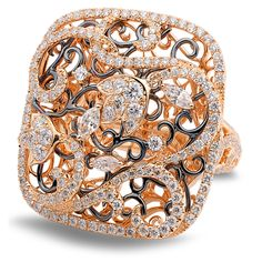 Ring in 18KT ROSE GOLD with WHITE DIAMONDS 3.11TCW Experience Royalty in Case Reale Jewelry