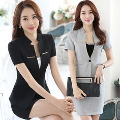 Professional Women Wear Summer Short Sleeved Suit Work Clothes Cultivation Jewelry Hotel Front Desk Uniform Female Suit J050