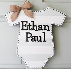 Baby Boy Announcement Hospital Door Hanger Sign by CitrusPaperCo