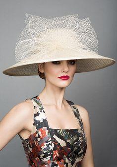 Rachel Trevor Morgan Millinery S/S 2015, R1596 Ecru mesh hat with mesh loops