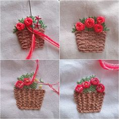 "283 Me gusta, 15 comentarios - Prin Komsorn (@embroidery_prin) en Instagram: ""easy way 2 roses #embroidery #embroideryart #handembroidery #art #handmade #needlework #diy #craft…"""