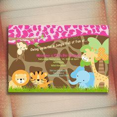Jungle Safari Birthday Invitation,