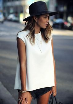 simple, day, evening, outfit, monochrome, white tee, black shorts, chic, fine necklace, tan