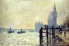 Claude Monet (French, Impressionism, 1840-1926): The Thames below Westminster, 1871. Oil on canvas, 72.5 x 47 cm. National Gallery, London, UK.