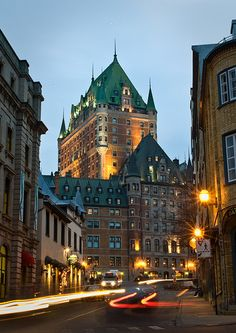 Rue de Fort, Quebec City: Another view of the ubiquitous but very attractive Château Frontenac. This was at dusk with plenty of skylight fill, and some obliging cars to provide some interesting motion. Quebec Montreal, Old Quebec, Montreal Canada, Quebec City, Alberta Canada, Places Around The World, Travel Around The World, Chateau Frontenac Quebec, Places To Travel