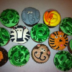 Cupcakes for a jungle themed party