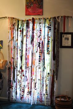 My hippy window treatment (bohemian art hippie) beaded curtains doorway, bead curtains,