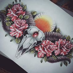 Ram skull and roses chest piece tattoo design, by me - Kirsty Noelle Davies