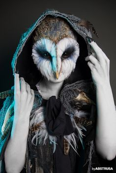 Photo by ABSTRUSA | Make-up: Fiona Freud(owl, makeup, halloween, costume, cute, horror, scary, feathers, portrait, photography, animal, bird, black eyes, scleras, contact lenses, white skin, aqua make up, face, girl, woman, sfx, cosplay)