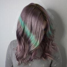 Pastel Purple Hair With Green Streaks