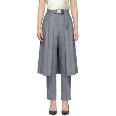 Fendi Pleated Skirt-panel Wool-blend Tweed Trousers In Blue Blue Pleated Skirt, Fendi Clothing, Tweed Trousers, Dressy Shorts, Skirt Fashion, Wool Blend, Street Wear, My Style, Skirts