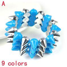 Fashion Blue Spike Design Punk Jewellery Bracelet with Elastic Size, BR-1375A