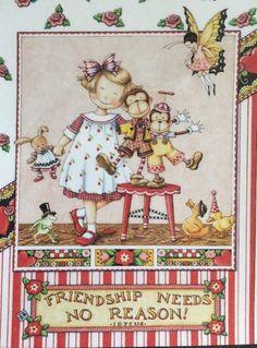 Handmade Fridge Magnet-Mary Engelbreit Artwork-Friendship Needs No Reason