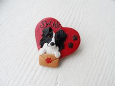 Border Collie Valentine Pin by Raquel at the WRC hand by theWRC, $18.00