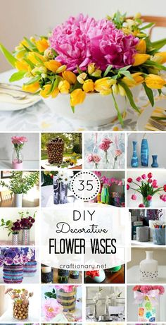 Super creative ways to make DIY vases. I found 35 tutorials to make flower vases that are crafty and clever. Diy Flowers, Flower Vases, Vases Decor, Table Decorations, Spring Activities, Decorating Your Home, Easter, Tutorials, Crafty