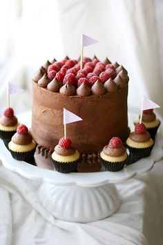 This weekend I had the opportunity to make a small birthday cake! I made the same kind of chocolate cake as I did a while ago, only a size smaller. It consists of a chocolate cake, raspberry mousse, milk chocolate mousse and raspberry jam. It's covered with a yummy chocolate fudge frosting and fresh raspberries. I wish I got to taste it aswell!
